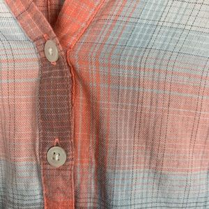 Columbia Tops - Columbia Coral and Gray Plaid Button Down Blouse